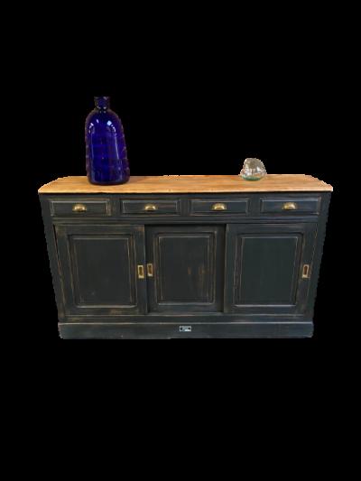 Meuble 4 tiroirs 3 portes coulissantes noir